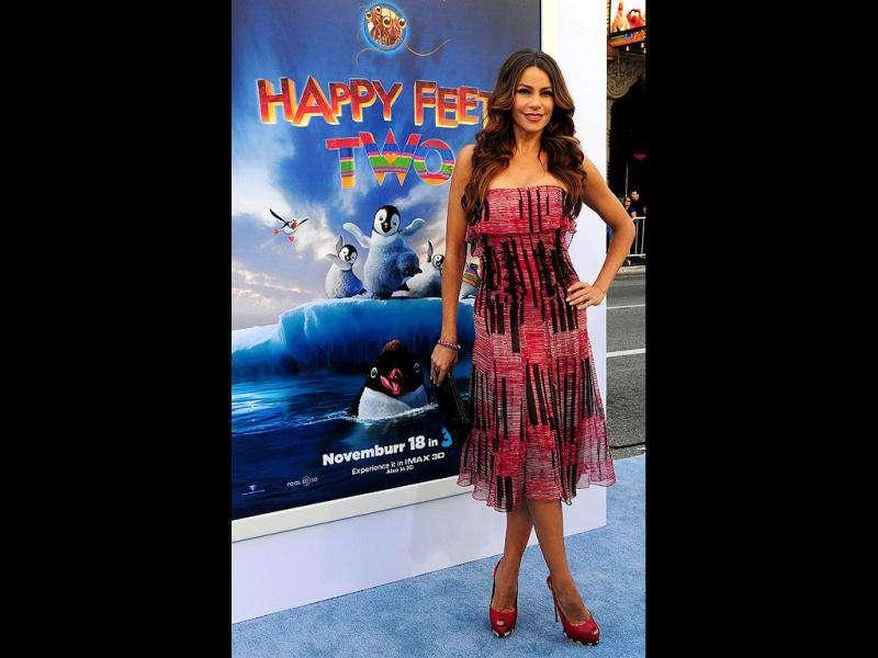 Actor Sofia Vergara looks stunning in a dress at the premiere.