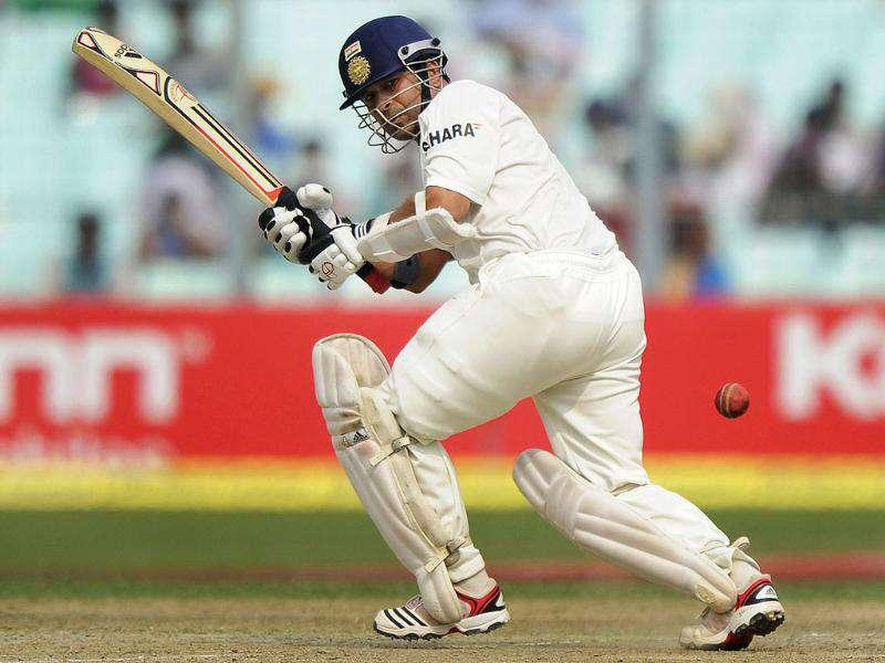 Sachin Tendulkar plays a shot during the first day of the second Test cricket match between India and West Indies at The Eden Gardens in Kolkata.