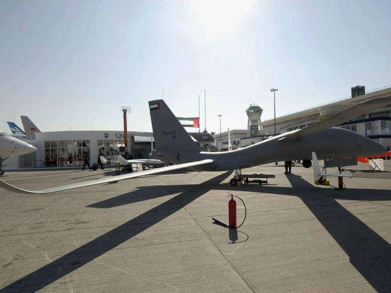The United 40 unmanned air vehicle is displayed on the second day of the Dubai Airshow. Dubai's fast-growing airline Emirates kicked off the Middle East's biggest airshow with a huge order for 50 Boeing 777s, marking the US aircraft maker's biggest-ever single order in dollar terms.