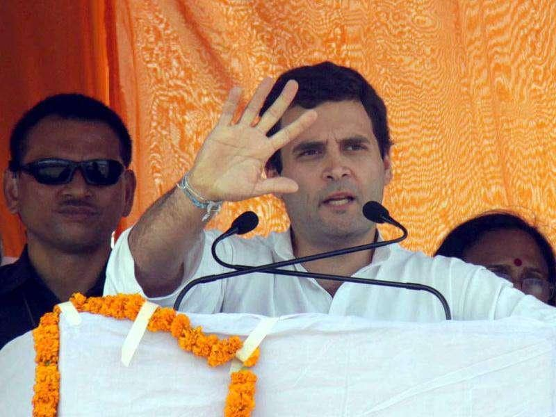 Rahul Gandhi addressing a rally in Phoolpur near Allahabad. UNI