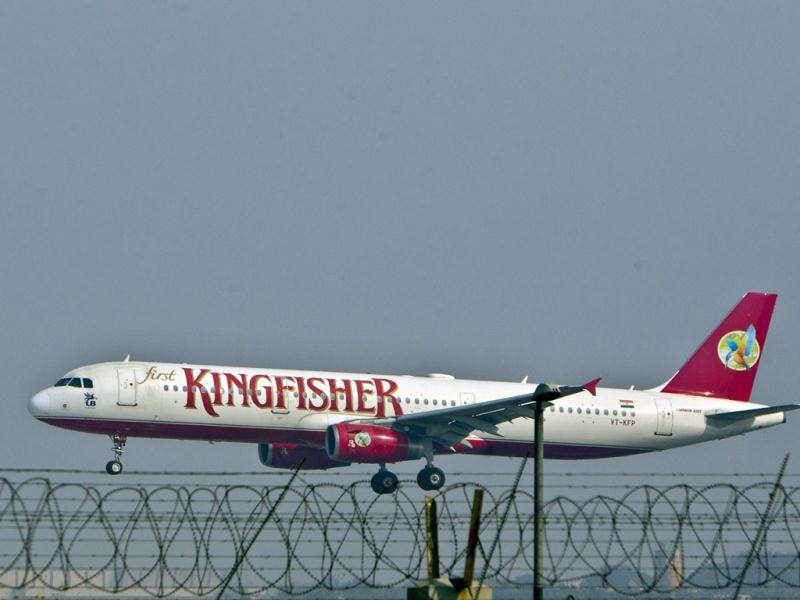 A Kingfisher Airlines flight prepares to land at the Indira Gandhi International Airport in New Delhi.AP/Gurinder Osan