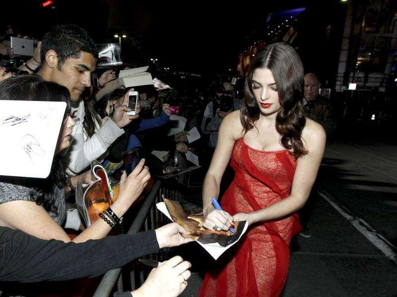 Ashley Greene arrives at the world premiere of The Twilight Saga: Breaking Dawn - Part 1 on Monday. (AP Photo/Matt Sayles)
