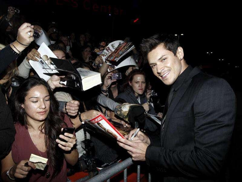 Alex Meraz arrives at the world premiere of The Twilight Saga: Breaking Dawn - Part 1 on Monday. (AP Photo/Matt Sayles)