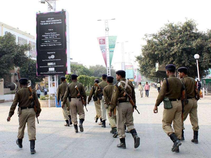 Security personnel at the 31st India International Trade Fair (ITTF) at Pragati Maidan in New Delhi. HT Photo by Sunil Saxena.
