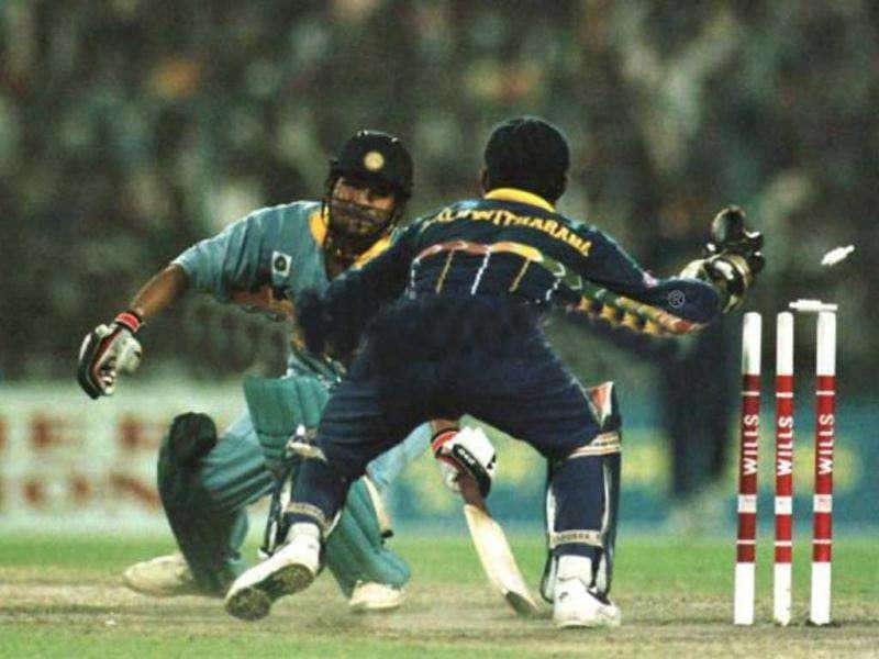 Sachin Tendulkar of India is stumped by Kaluwitharana of Sri Lanka for 65 during the semi-final in the Cricket World Cup between India and Sri Lanka played at Eden Gardens in Calcutta, India.