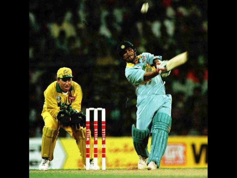 Sachin Tendulkar plays a shot off the bowling of Shane Warne of Australia during the 1996 cricket World Cup match between Australia and India in Bombay. Getty images/Shaun Botterill