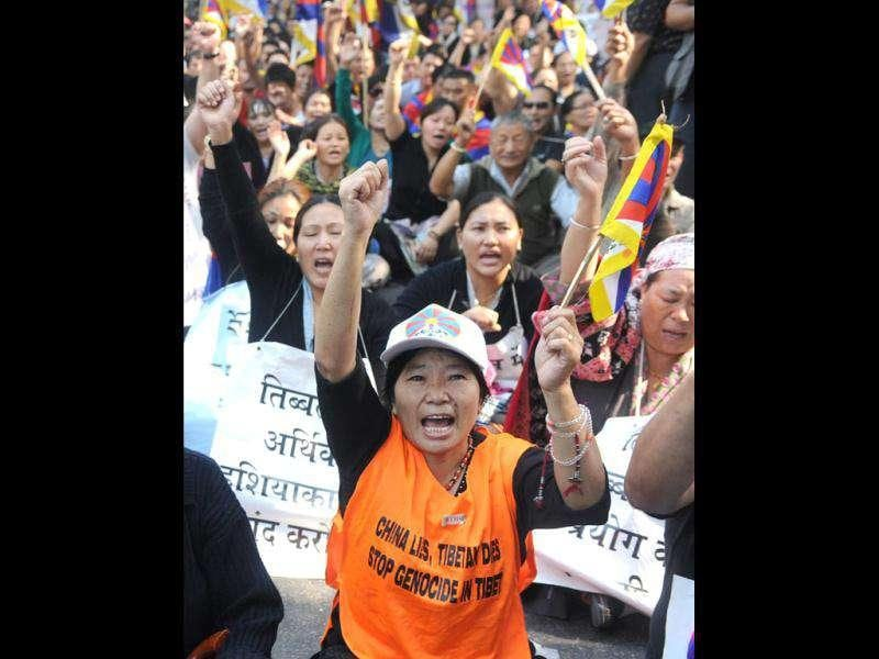 A Tibetan protester shouts anti-Chinese slogans during a Tibetan people's solidarity movement protest near Chinese embassy in New Delhi.