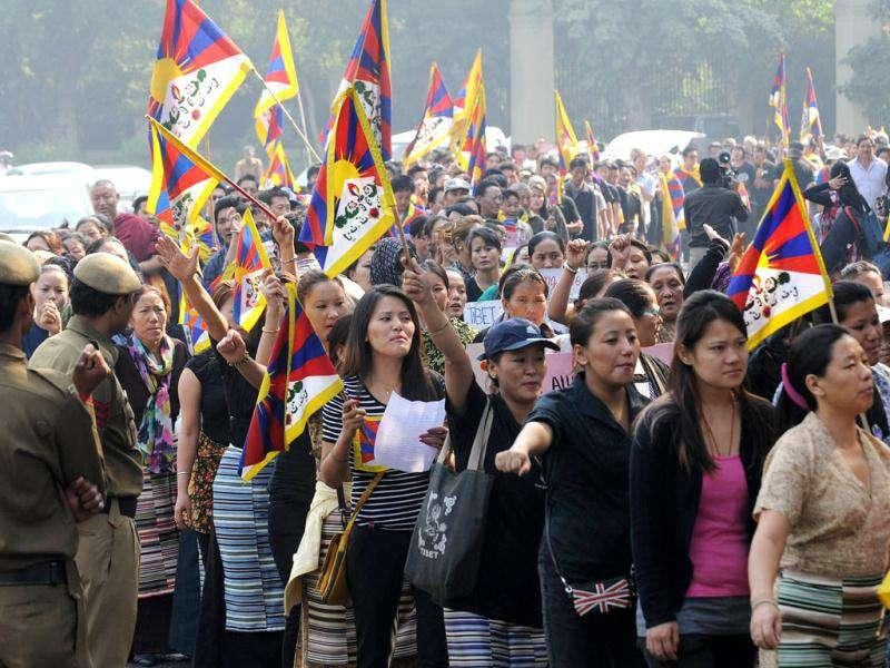 Tibetan protesters march during a Tibetan people's solidarity movement rally near the Chinese embassy in New Delhi.