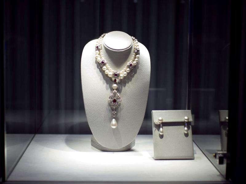 La Peregrina, a pearl, diamond, ruby and cultured pearl necklace by Cartier, given to Elizabeth Taylor by her fifth husband Richard Burton on display.
