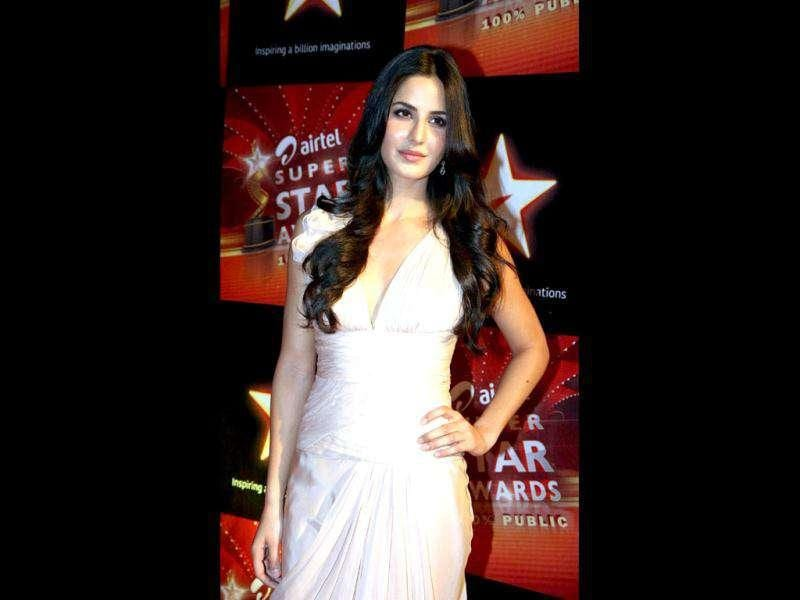 Katrina's pleated pearly dress definitely makes a style statement.