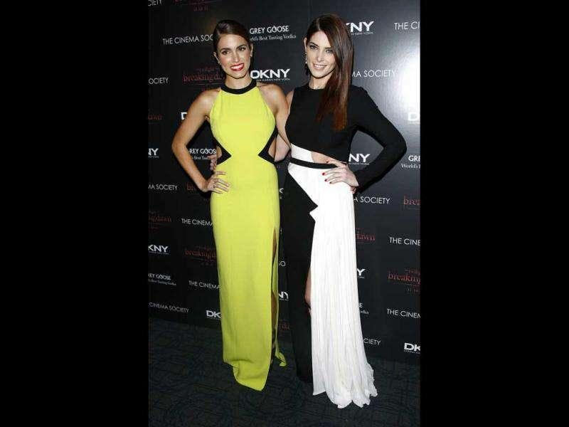 Actors Nikki Reed, left, and Ashley Greene attend the Cinema Society premiere of The Twilight Saga: Breaking Dawn-Part in New York.