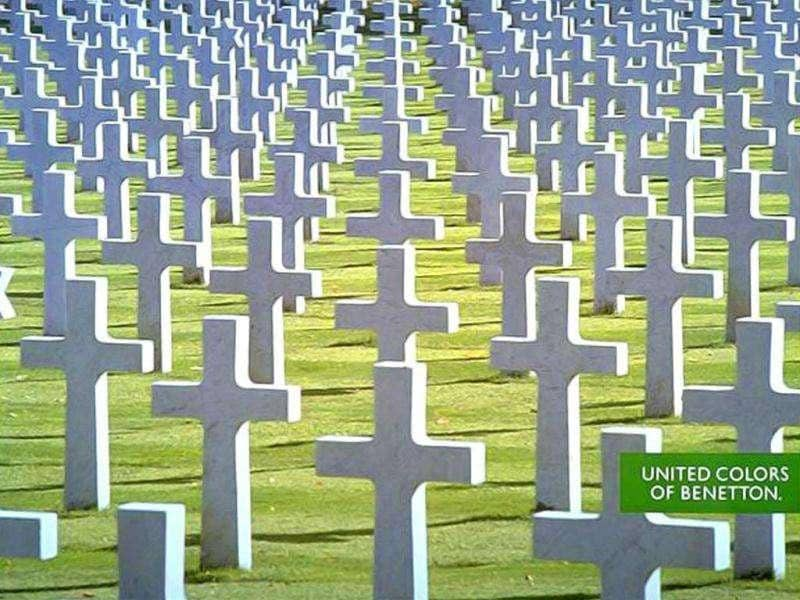The Italian clothing company Benetton has run controversial advertising campaigns in the past. This ad depicts a cemetery of many cross-like tombstones. The image was created in 1991 during the Gulf War.