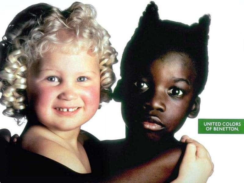 The Italian clothing company Benetton has run controversial advertising campaigns in the past. This ad portrays moral conflict (the stereotypes of good and evil, symbolized by an angel and the devil).