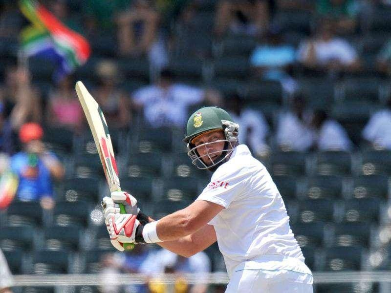 Jacques Kallis looks on after playing a shot during the first day of the second cricket Test match between South Africa and Australia at the Wanderers Stadium in Johannesburg.