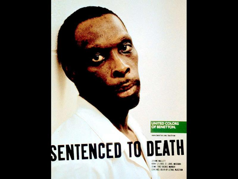American death row prisoner Jerome Mallet, in an undated picture taken by Benetton's artistic director Oliviero Toscani for the Italian clothier group's ad campaign titled
