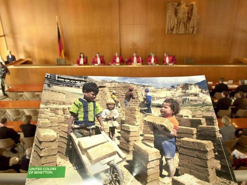 A 'Benetton' advertisement, showing a photograph of children at labour, is displayed in the courtroom of the German Federal Constitutional Court in Karlsruhe.File photo