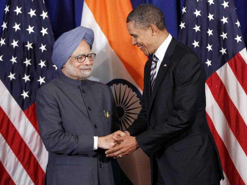 Prime Minister Manmohan Singh meets US President Barack Obama on the sidelines of the ASEAN and East Asia summit in Nusa Dua, in Bali.