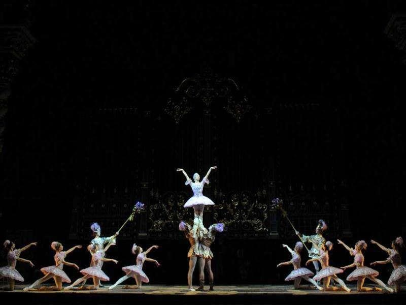 The Bolshoi ballet dancers perform during a rehearsal for a new production of Tchaikovsky's
