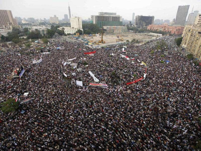 Protesters gather in Tahrir Square, the focal point of the uprising that ousted President Hosni Mubarak, in Cairo, Egypt.