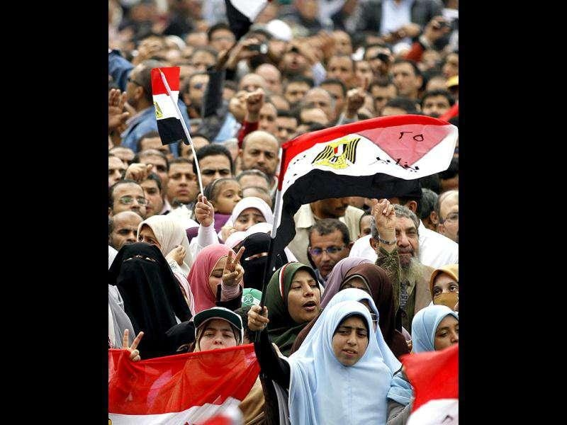 Women gather with other protesters during a demonstration at Tahrir Square in Cairo.