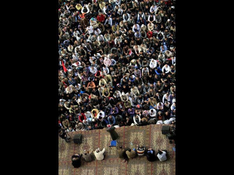 Protesters listen to a speaker in Tahrir Square, the focal point of the uprising that ousted President Hosni Mubarak, in Cairo, Egypt.