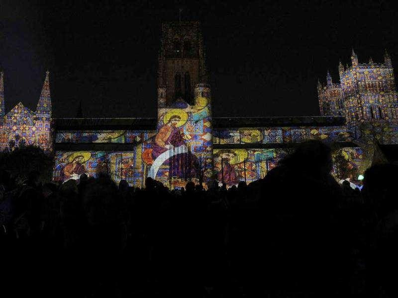 Pages from the Lindisfarne Gospels are projected onto Durham Cathedral in Durham, northern England. Projection artist Ross Ashton has collaborated with composer and arranger Robert Ziegler and Imagination sound designer John del Nero, to create a 12-minute Son et lumiere. Ashton will project illustrated pages of the Lindisfarne Gospels across the 100m span of Durham Cathedral as part of 'Durham Lumiere'. Reuters/Nigel Roddis