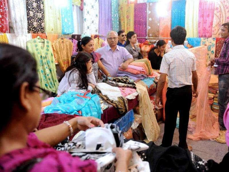 Pakistan-made clothes and textiles are seen for sale at the India International Trade Fair (IITF) in New Delhi. Some 27 countries plus various Indian states are taking part in the two week-long trade fair focusing on tourism and promoting the products of small and medium sized companies. AFP photo/Raveendran