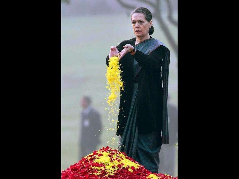 Congress president Sonia Gandhi paying tribute to Indira Gandhi on her 94th birth anniversary at her memorial Shakti Sthal in New Delhi.