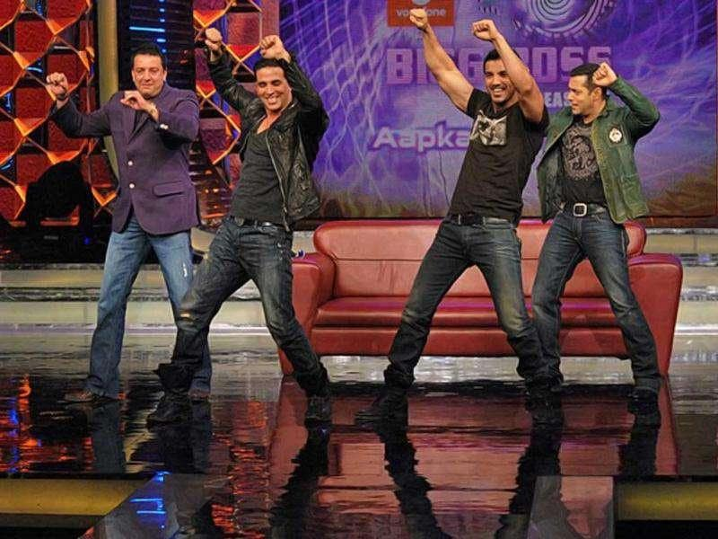 Who's the real desi boy? Sanjay, Salman join John and Akshay while promoting Desi Boyz in Bigg Boss.