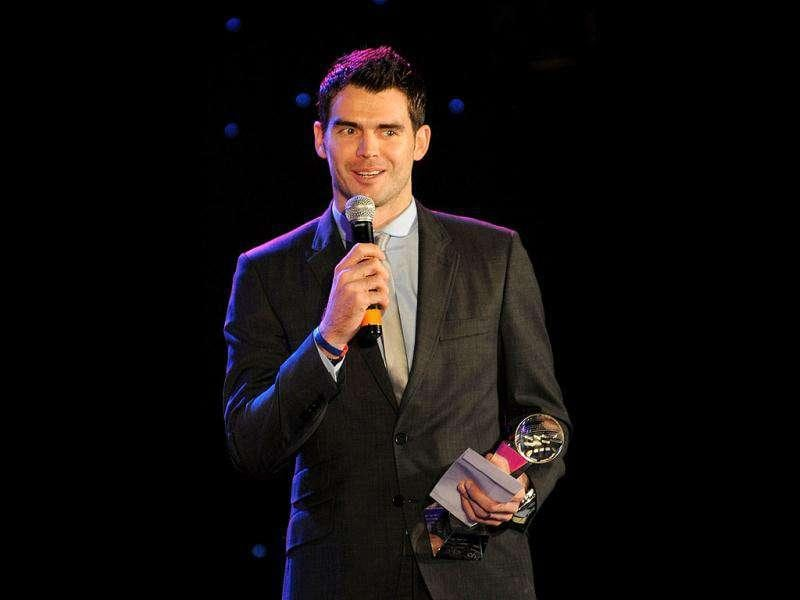 England cricketer James Anderson speaks after receiving the CEAT International Bowler of the year award at the
