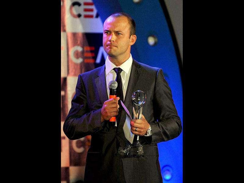 England cricketer Jonathan Trott speaks after receiving the CEAT International Cricketer of the Year and the International Batsman of the year award at the