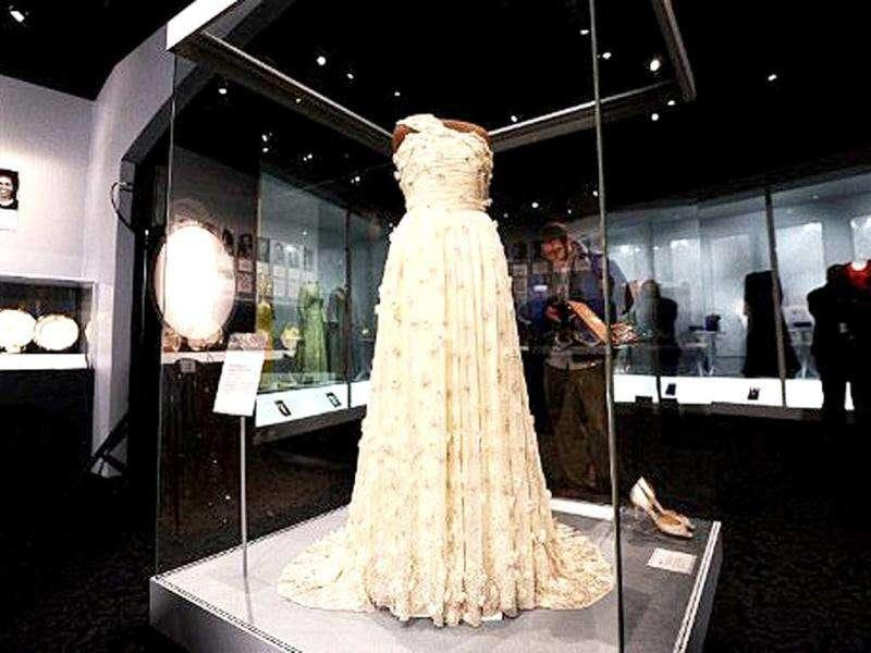 A dress and other accessories of US First Lady Michelle Obama is displayed at the Smithsonian's National Museum of American History in Washington, DC.