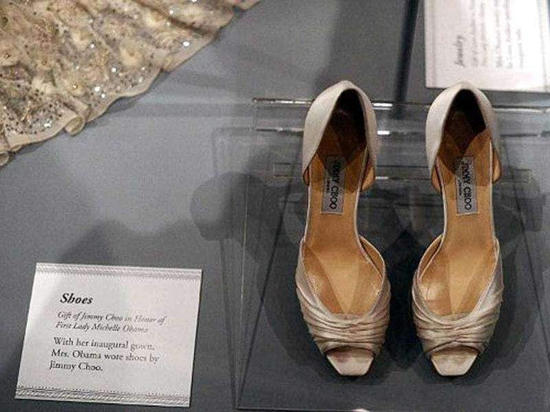 The pair of shoes US First Lady Michelle Obama wore during the inauguration are displayed at the Smithsonian's National Museum of American History in Washington, DC.