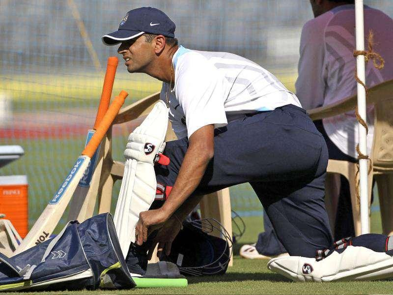 Rahul Dravid pads up during a training session ahead of their third test cricket match against West Indies in Mumbai.