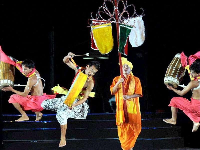 Artists from Manipur perform during the cultural evening in Nagpur.