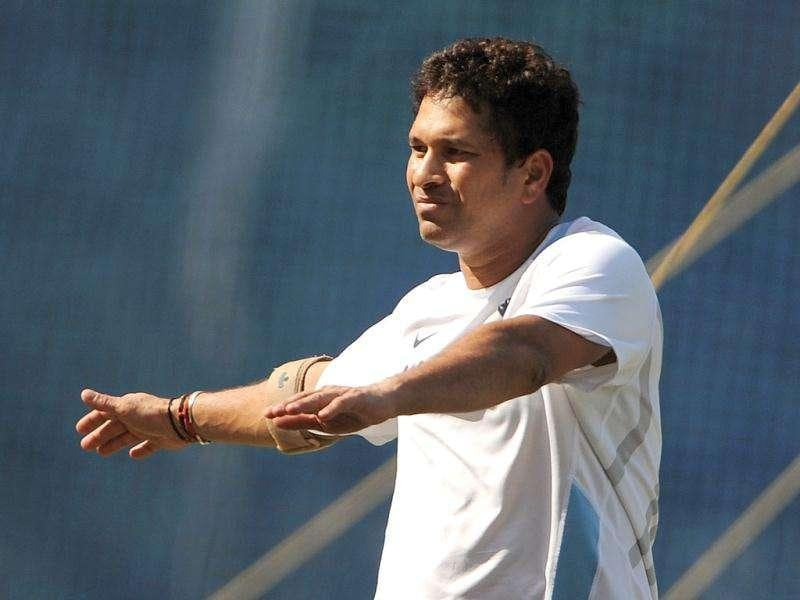 Sachin Tendulkar warms up during a practice session at the Wankhede stadium in Mumbai.