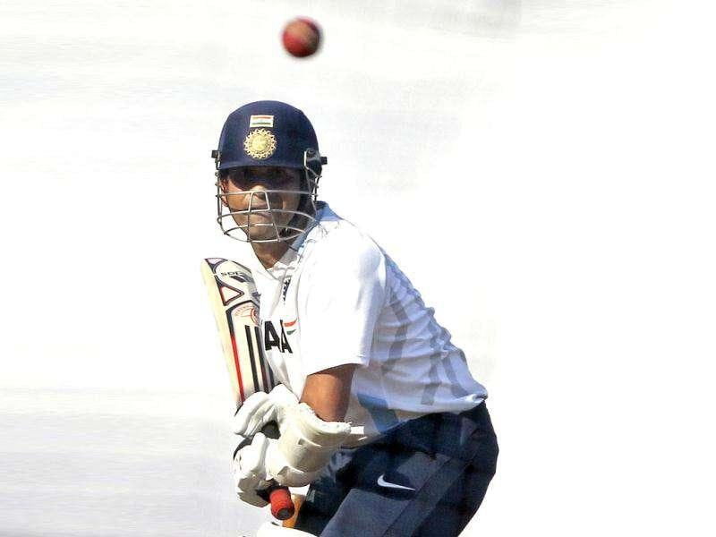 Sachin Tendulkar bats during a training session ahead of their third Test cricket match against West Indies in Mumbai.