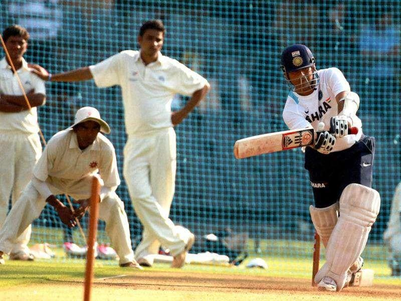 Sachin Tendulkar during the practice session at Wankhede stadium in Mumbai ahead of third Test match against West Indies.