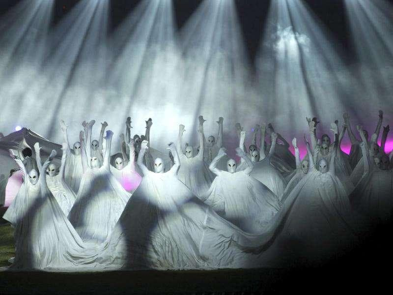 Artists perform during the closing ceremony of the Kabaddi World Cup in Ludhiana, Punjab.