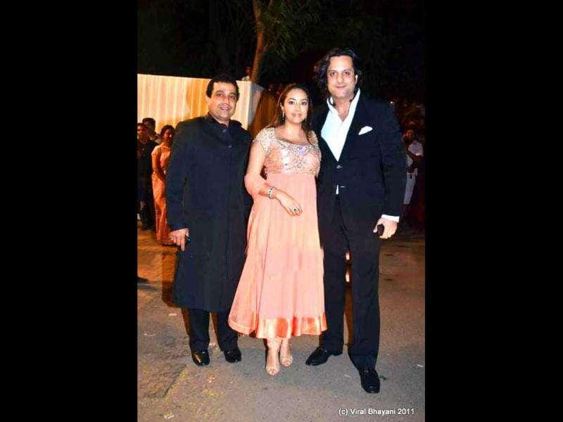 Fardeen Khan with wife Natasha and Shahid Aamir.