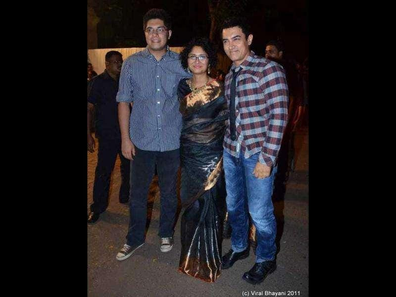 Aamir Khan poses with wife Kiran Rao and son Junaid.