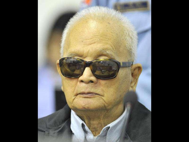 Former Khmer Rouge leader ''Brother Number Two'' Nuon Chea attends his trial at the Extraordinary Chambers in the Courts of Cambodia (ECCC) on the outskirts of Phnom Penh. The top surviving commanders of the 1970s Khmer Rouge regime masterminded one of the