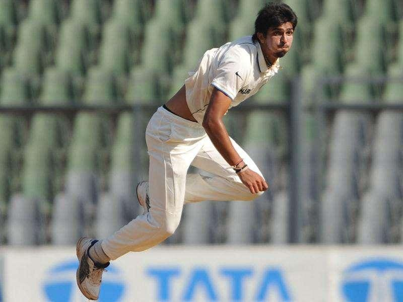 Ishant Sharma bowls during the first day of the third cricket Test match between India and West Indies at the Wankhede stadium in Mumbai.a