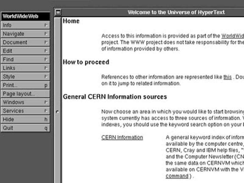 THE PROJECT – 1991Organization: CERN. Designed by: Tim Berners-Lee. Built in: HTML 1.0 It all began at the European Organization for Nuclear Research (CERN) in March of 1989. In 1990 Berners-Lee realized The Project by creating a browser-editor that ran on the now obsolete NeXTStep Operating System. He called it the WorldWideWeb.