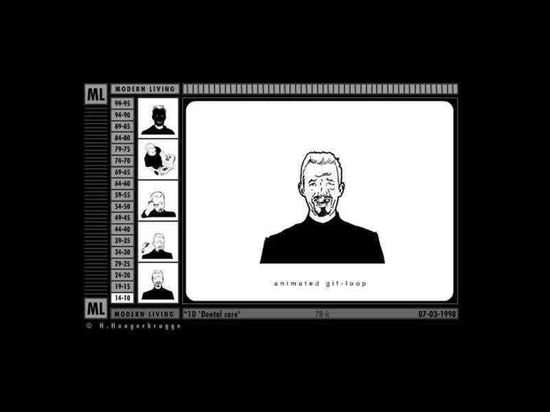MODERN LIVING – 1998Modern Living. Developed by: Han Hoogerbrugge. Built in: GIF, Flash 3 Dutchman Han Hoogerbrugge turned his comic strip into a series of looping GIFs in 1998 on his website Modern Living. The animations soon became interactive Flash-based artworks and detailed Hoogerbrugge's ongoing battle with modern life. (AFP)