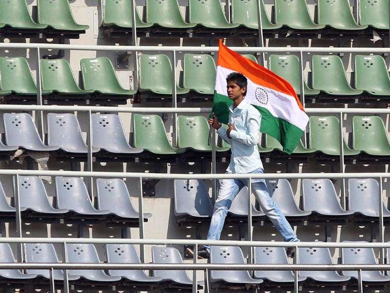Empty stands seen during the second day of the third Test match between India and West Indies at Wankhede stadium in Mumbai. HT photo by Santosh Harhare