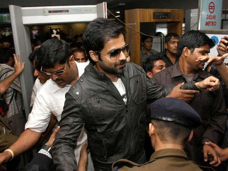 Emraan Hashmi being checked by the security before entering the metro station.