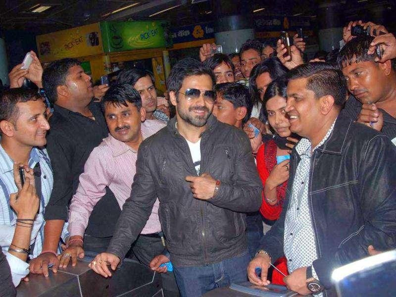 Emraan at Rajiv Chowk Metro Station, New Delhi.
