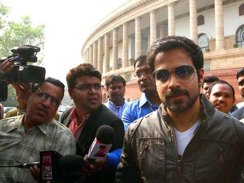 The actor at the Parliament addressing the media.