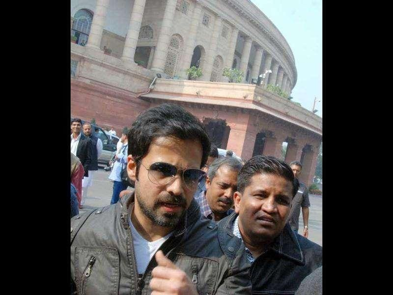 Emraan Hashmi at the Parliament to promote his film.